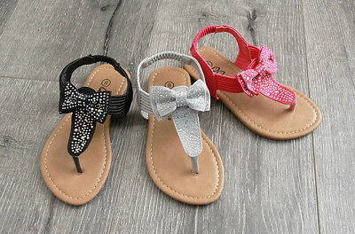 $8.99 • Buy Summer Girls Toddler Rhinestone Bow Buckle Sandals Shoes Size 5-10