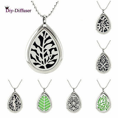 AU1.54 • Buy 316L Steel Teardrop Perfume Essential Oil Diffuser Necklace Locket Aromatherapy