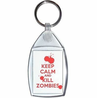 £2.99 • Buy Keep Calm And Kill Zombies - Clear Plastic Key Ring Size Choice New
