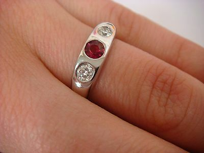 $650 • Buy Two Diamonds & Ruby Ladies Gypsy Style Ring, 14k White Gold 4 Grams, Size 6