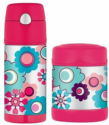 AU45.95 • Buy NEW THERMOS FUNTAINER FOOD CONTAINER + DRINK BOTTLE Insulated FLOWERS