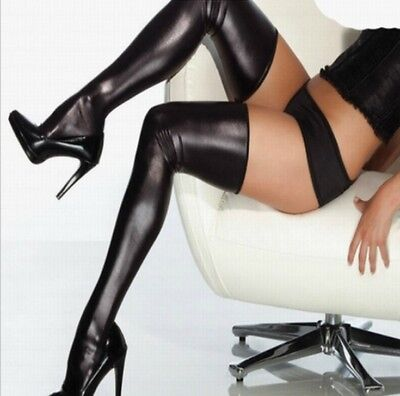 Sexy Black Stockings & Brief Hold Ups Pvc Wet Look Faux Leather Shiny Thigh High • 7.95£