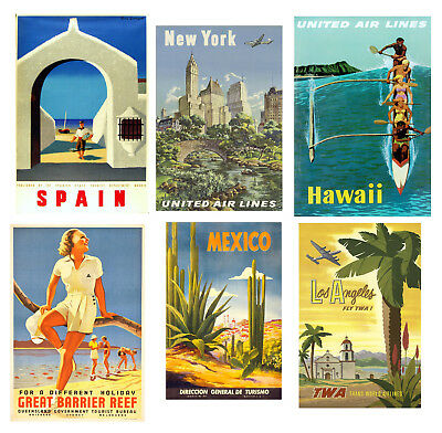 Vintage Travel Posters Wall Art Prints A2 / A3 / A4 • 11.64£