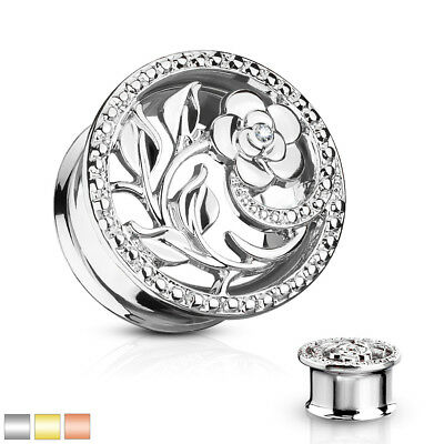 $8.50 • Buy PAIR Flower & Vines Tunnels Double Flare Plugs Gauges - Silver, Gold, Rose Gold