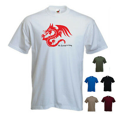 'St Georges Day - Dragon One'2 Saint George England Mens Tshirt SALE White Small • 4.99£