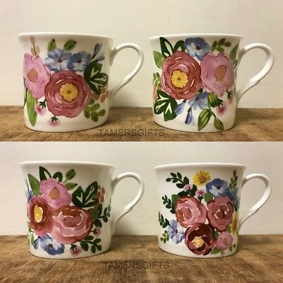 £18.99 • Buy Set Of 4 Watercolor Floral Garden Fine Bone China Mugs Heath McCabe Gift Boxed