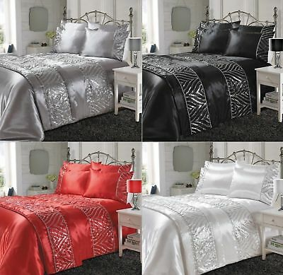 Shimmer Shiny Luxury Satin Silk Laces Duvet Cover Sets Bedding Sets /Bed Runners • 22.49£