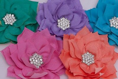 3  Poinsettia Rhinestone Flower Girl Tutu Dress Hair Wedding Craft Embellishment • 1.50£