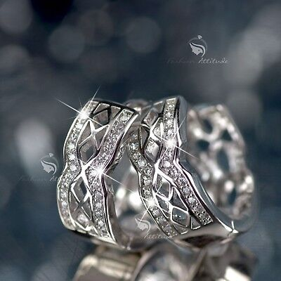 AU12.99 • Buy 18k White Gold Gf Made With Swarovski Crystal Filigree Huggies Earrings