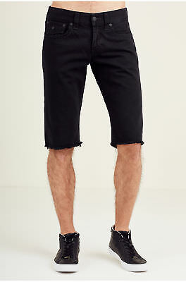 True Religion Men's Straight Leg Denim Cut-Off Shorts W/ Flaps In Jet Black • 57.24£