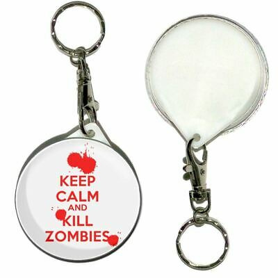 £3.99 • Buy Keep Calm And Kill Zombies - 55mm Round Button Badge Key Ring New