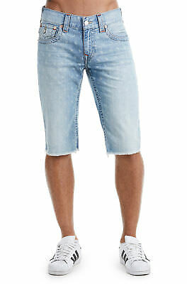 True Religion Men's Denim Cut-Off Monogram Shorts W/ Flaps In Chill Indigo • 68.84£