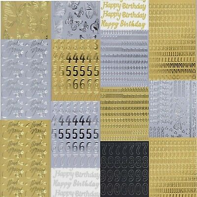 £1.79 • Buy Anita's Peel Off Outline Stickers Card Crafts Gold Silver Black Letters Numbers