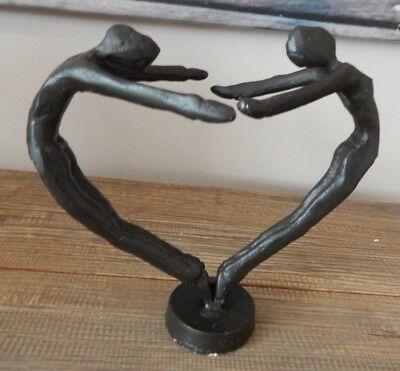 £23.99 • Buy Cast Iron Ornament Couple Lovers In Shape Of A Heart Decorative Gift Uk Seller