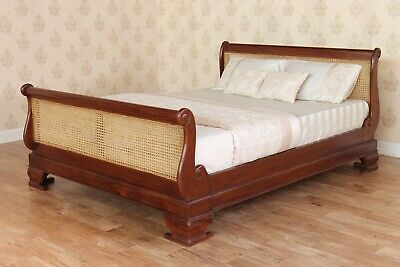 £775 • Buy Solid Mahogany French Sleigh Bed With Rattan Headboard & Footboard NEW B012