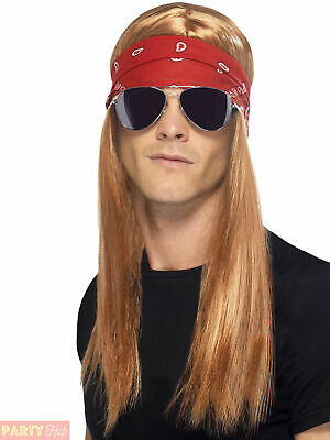AU24.51 • Buy Mens 90s Rocker Kit Adults Axel Rose Fancy Dress 1990s Rock N Roll Accessory