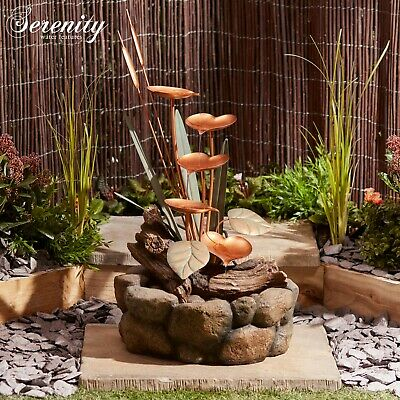 £114.99 • Buy Serenity Lily Pad Cascade Water Feature Self Contained 79cm Garden Fountain NEW