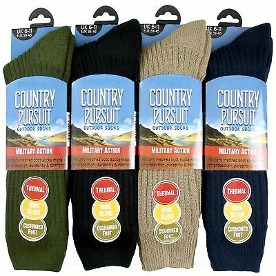 Mens Thermal Country Pursuit Military Action Socks David James Wool Blend  • 4.79£