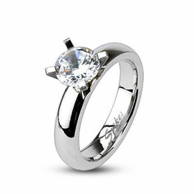 $7.99 • Buy Stainless Steel Solitaire Clear CZ Engagement Ring Band Size 5,6,7,8 (FL171)