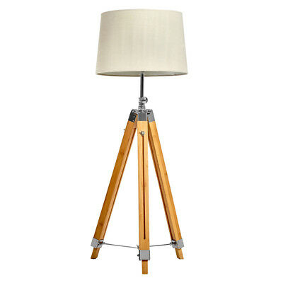 AU199 • Buy Raleigh Floor Lamp Light Tripod Bamboo Base Stand Extendable Beige Linen Shade