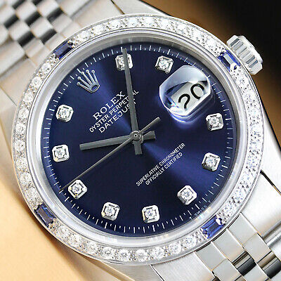 $ CDN5976.48 • Buy Rolex Mens Datejust 18k White Gold Diamond Sapphire & Steel Blue Dial Watch