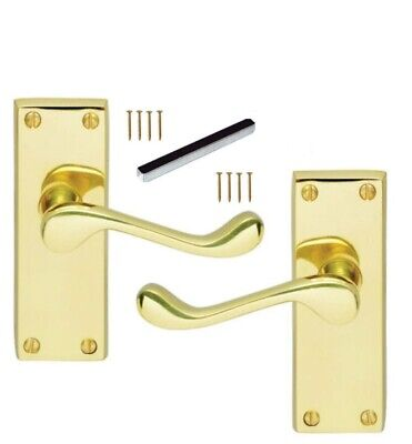 £6.90 • Buy Door Handles Brass Finish Lever Latch Victorian Scroll Internal Up To 9 Sets D3