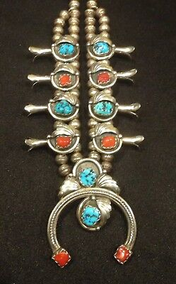 $ CDN1014.96 • Buy Native American Sterling Squash Blossom Necklace Turquoise And Coral Old Pawn