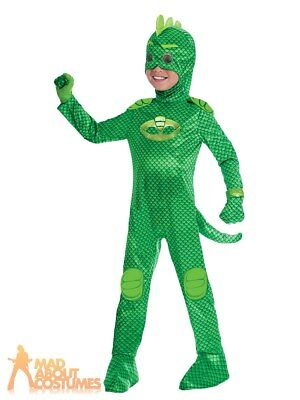 Boys Deluxe PJ Masks Gekko Costume Official UK Superhero Fancy Dress Outfit • 19.99£