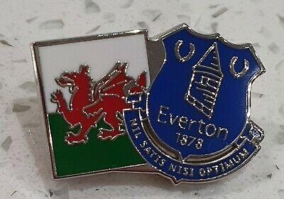 Everton FC Wales Official Pin Badge - Blue Crest With Welsh Flag - Gift Idea • 3.50£