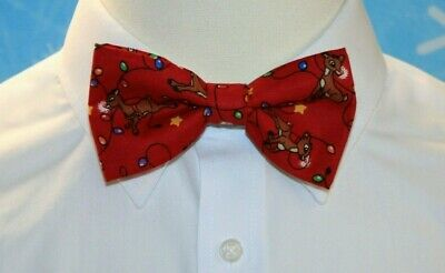 New Reindeer String Lights Clip-On Cotton Bow Tie - Choose Men's Or Boys Bowtie • 8.55£