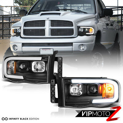 $216.61 • Buy For 02-05 Dodge RAM Pickup 1500 2500 3500 Black LED Neon Bar Projector Headlight