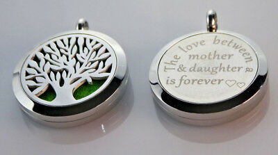 AU26.97 • Buy Mother - Daughter Diffuser Necklace Locket Stainless Still 10ml Oil 11 Pads Gift