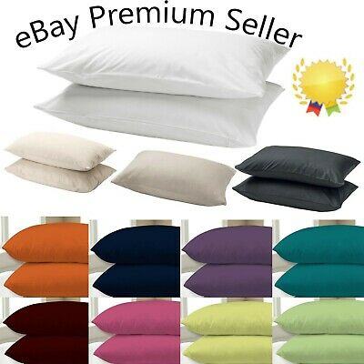 £3.73 • Buy 2x Pillow Case Luxury Cases Poly Cotton Housewife Pair Pack Bedroom Pillow Cover