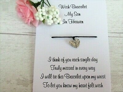 £2.95 • Buy My Son In Heaven Wish Bracelet Child Loss Remembrance Gift Jewellery