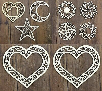 £3.69 • Buy Wooden Shapes Hearts Stars Moon Pattern Embelishment Craft Vintage Decorate