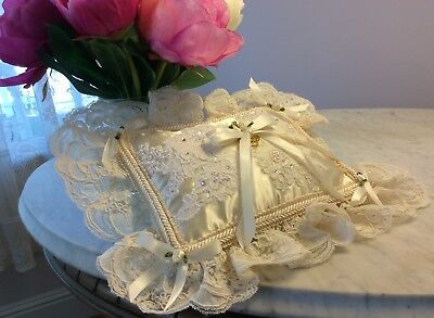 Wedding Ring Bearer Pillow Satin Imported Lace • 25.08£