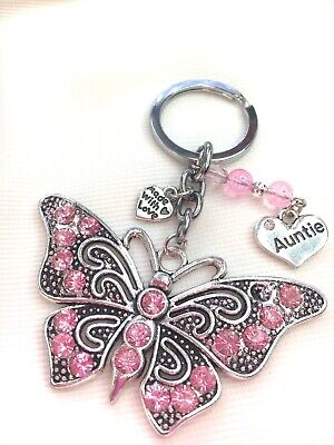 £4.39 • Buy Personalised Handmade Butterfly Keyring Bag Charm Gift Choose Auntie, Nanny Etc