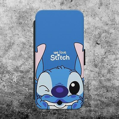 DISNEY LILO & STITCH OHANA MEANS FLIP WALLET PHONE CASE COVER FOR IPhone SAMSUNG • 8.99£