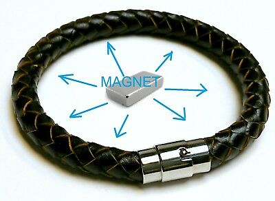 FROM REAL LEATHER  Magnetic Energy  Armband  Power Bracelet Health  Bio MAGNET • 9.98£