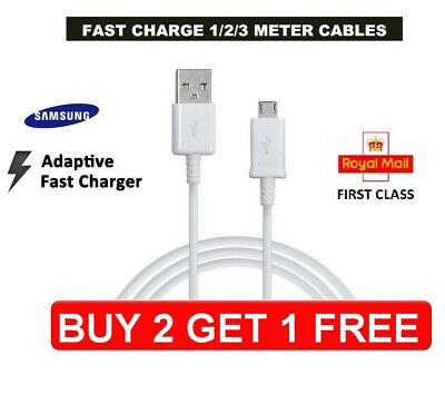 Genuine Samsung Fast Charger Micro 1M 2M 3M USB Data Cable Lead For S4 S5 S6 S7 • 2.99£
