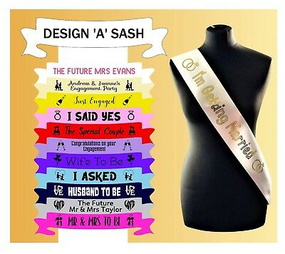 £3.95 • Buy Personalised Engagement Sash Future Mr And Mrs Getting Married Just Engaged