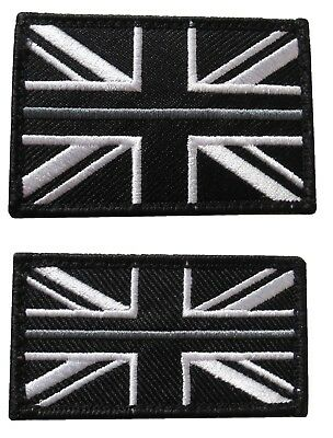 Thin Grey Line HMP Prison Officer Service Union Jack Badge Patch Hook Fastener • 5.40£
