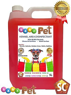 1 X 5L SANI PET Kennel Cattery Disinfectant, Cleaner, Deodoriser - WILD BERRY • 9.80£