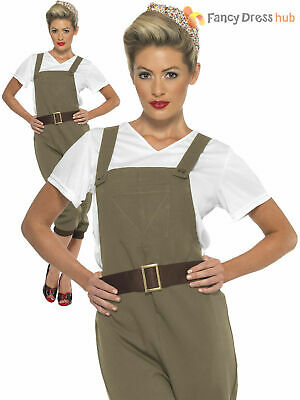 Adults WW2 1940s Land Girl Ladies Army World War 2 Fancy Dress Costume Outfit • 26.45£