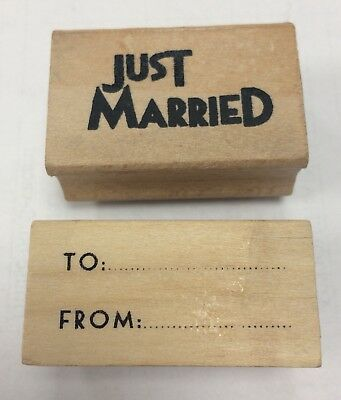 East Of India Ink Rubber Stamp Wooden Tiny Block Print JUST MARRIED / TO FROM   • 2.45£