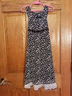 $3 • Buy Black White Floral Dress Girl Size 6 Summer Formal Pageant Party New No Tags