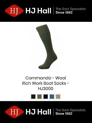 £8.99 • Buy Mens HJ Hall Commando™ HJ3000 Wool Rich Outdoor Army Work Boot Socks All Sizes