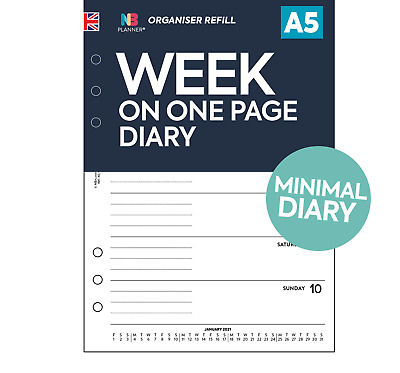 Filofax A5 / Personal COMPATIBLE Any Year Week On One Page Organiser Refill • 5.50£