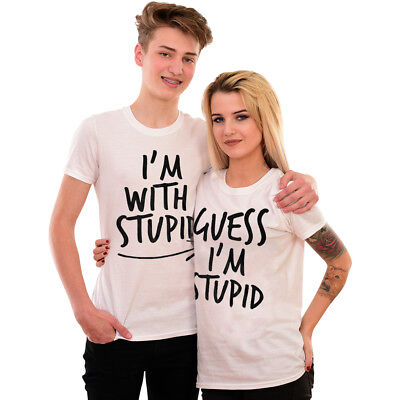 I'm With Stupid Matching Funny T-Shirt Couples Slogan Tee Rude Joke Gift Idea 6  • 9.99£