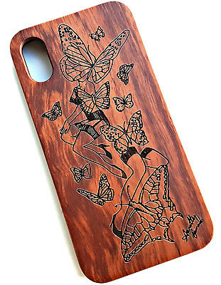 Wooden Engraved Butterfly Phone Case For IPhone X And XS. Real Rose Wood • 9.99£